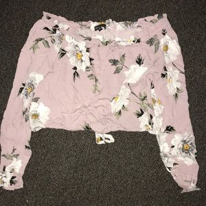 Tops - Cropped flower patterned long sleeve shirt.